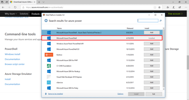 Microsoft Azure PowerShell Installed