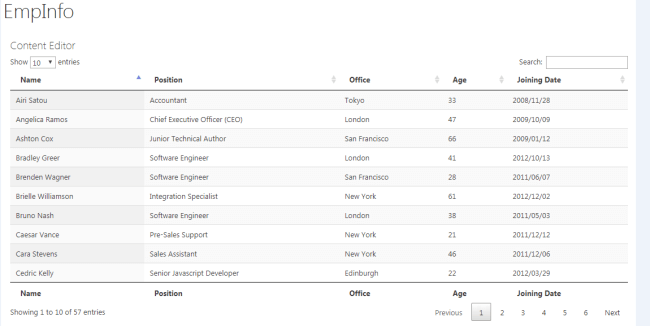 using jquery datatable to display sharepoint 2013 list
