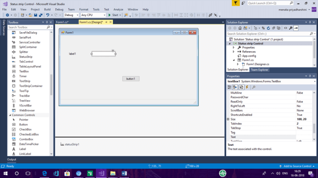 Using StatusStrip In Windows Forms