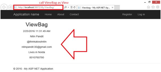 how to pass data from controller to view using viewbag