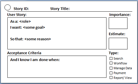 scrum user stories template - user story in agile scrum
