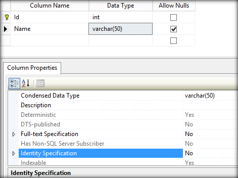 Use Alter command to add an identity will throw an exception. If we go to the design of the table we can see a property named \u0027Identity Specification\u0027 that ...  sc 1 st  C# Corner & Working With Identity Column After Table Creation In SQL Server