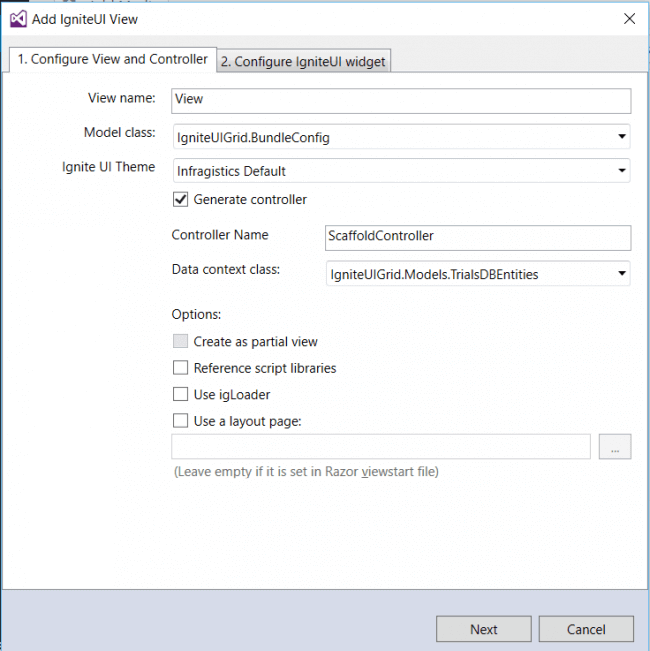 Configure view and controller