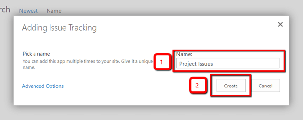 Issue Tracking List in SharePoint
