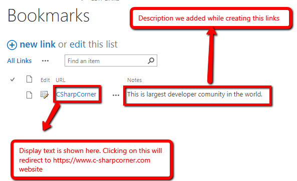 Working With Link Lists In SharePoint