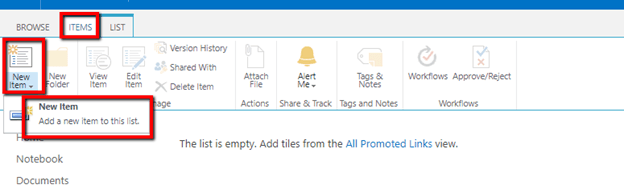 Working With Promoted Link List In SharePoint