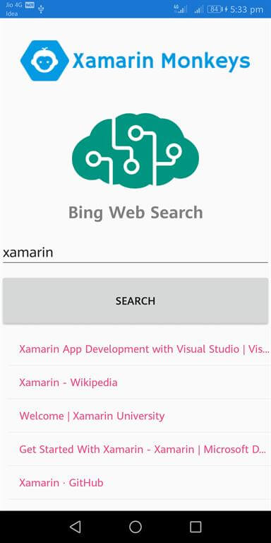 Xamarin.Forms - Bing Web Search Using Cognitive Service