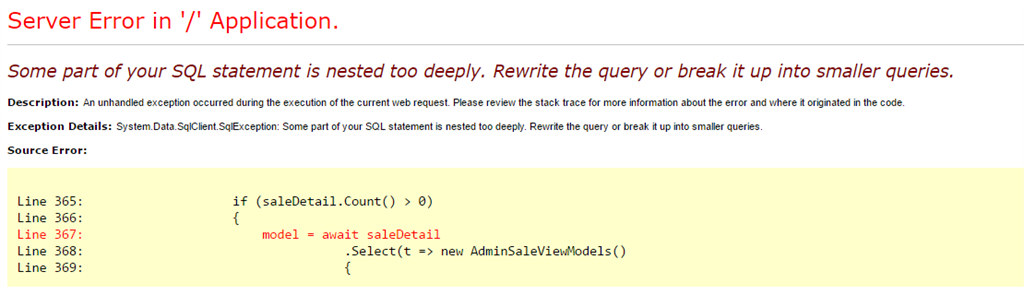 Some part of your SQL statement is nested too deeply